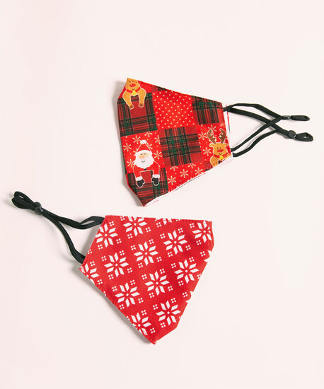 Cotton-Lined Face Mask Set, Red, hi-res
