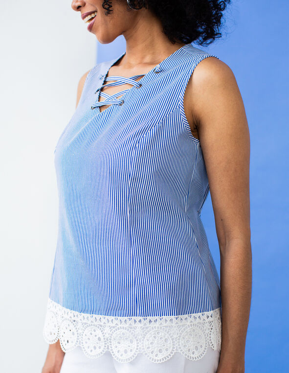 Blue Striped Lace Bottom Top, Blue, hi-res