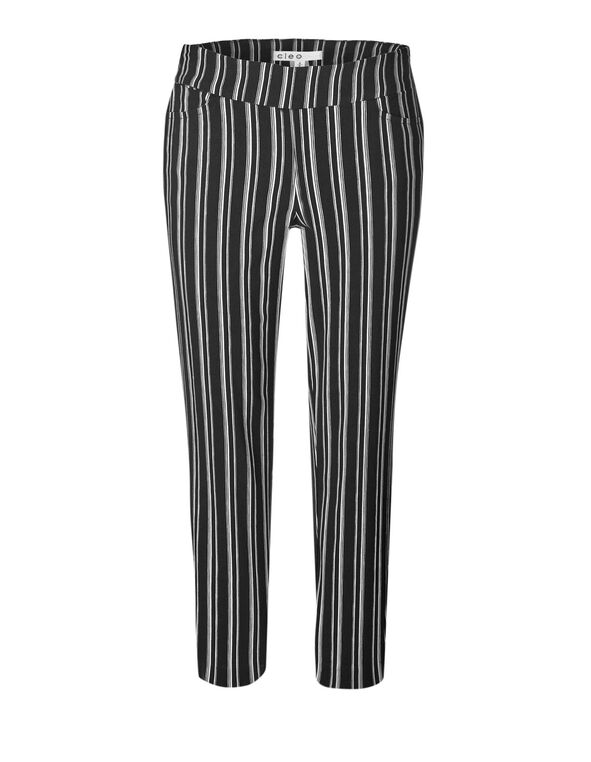 Black Stripe Ankle Pull On Pant, Black, hi-res
