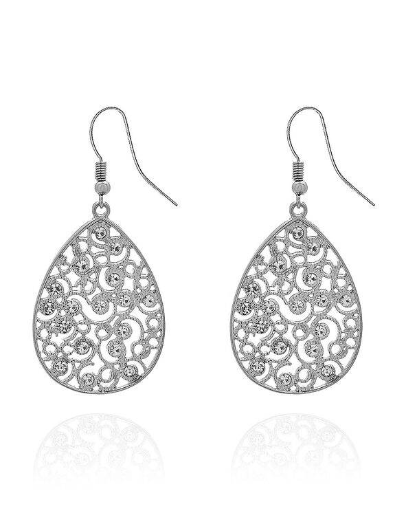 Silver Filigree Crystal Earring , Silver, hi-res