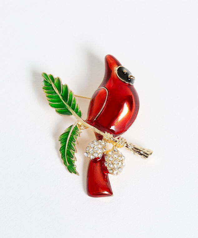 Red Cardinal Pin, Red/Gold/Green