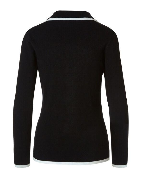 Black Contrast Sweater Blazer, Black, hi-res