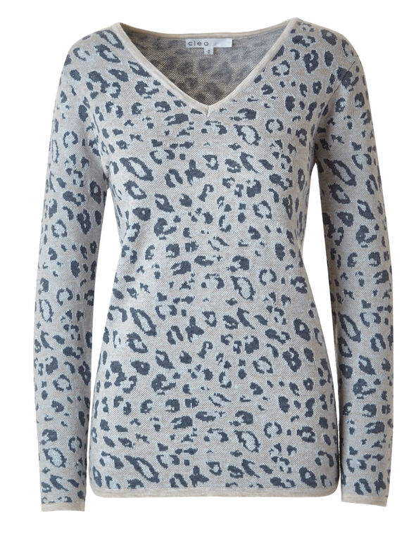 Animal Printed Pullover Sweater, Neutral, hi-res