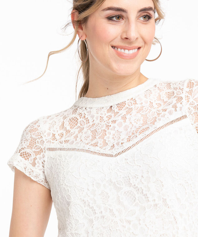 Lace Scoop Neck Short Sleeve Top, Ivory