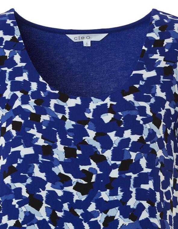 Blue Floral Print Woven Top, Royal Blue, hi-res