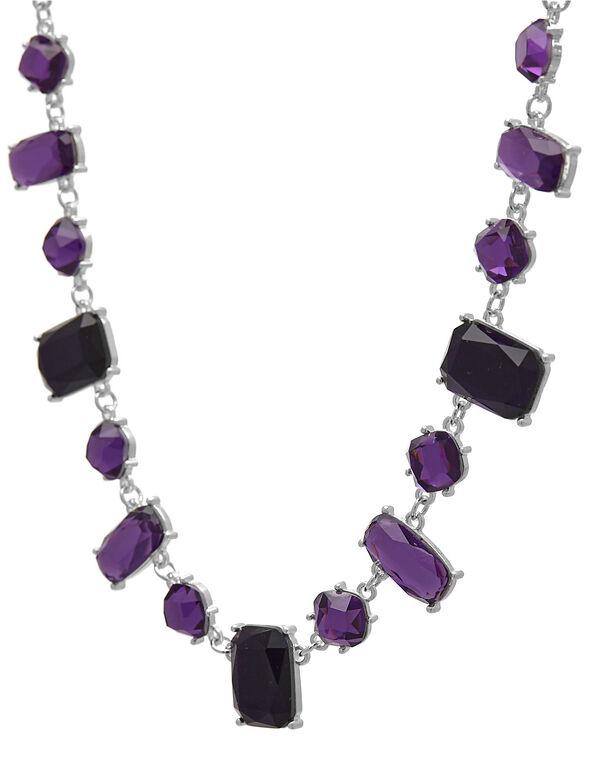 Purple Gem Statement Necklace, Purple, hi-res