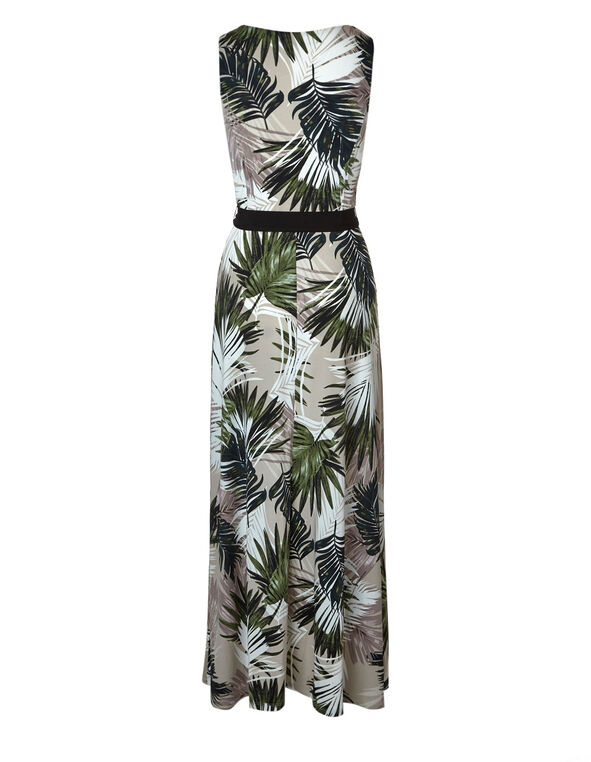 Neutral Palm Printed Maxi Dress, Neutral, hi-res