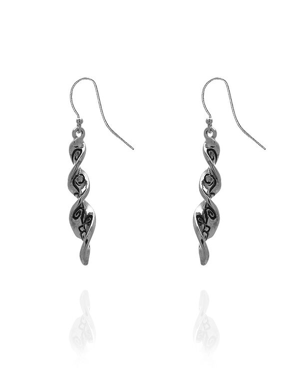 Silver Spiral Scroll Earring, Silver, hi-res