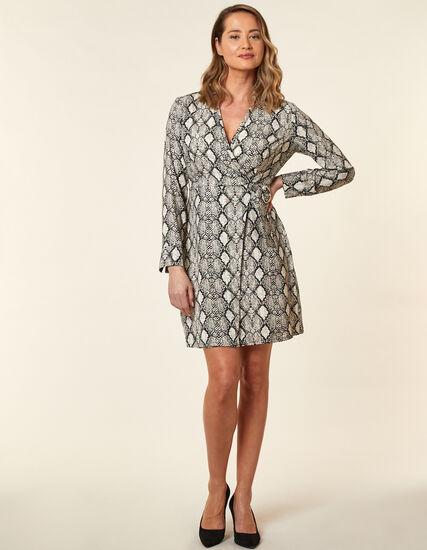 Snake Printed Wrap Dress, Grey, hi-res