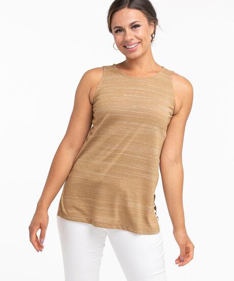 Sleeveless Scoop Neck Tunic Top, Camel Space Dye, hi-res