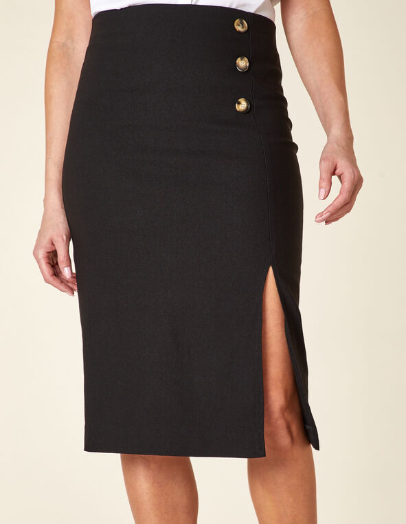 Black Button Pencil Skirt, Black, hi-res