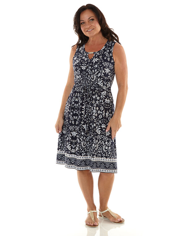 Navy Patterned Tie Waist Dress, Navy, hi-res