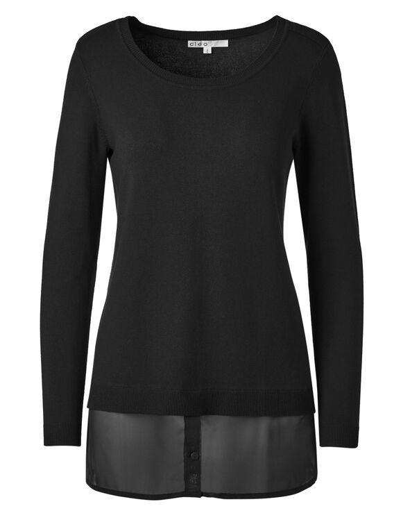 Black Chiffon Hem Tunic Sweater, Black, hi-res