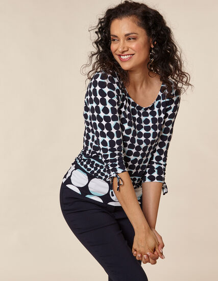 Navy Dot Placement Print Top, Navy, hi-res