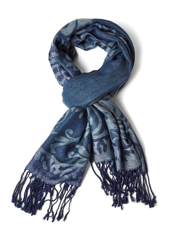 Blue Printed Pashmina Scarf, Blue, hi-res