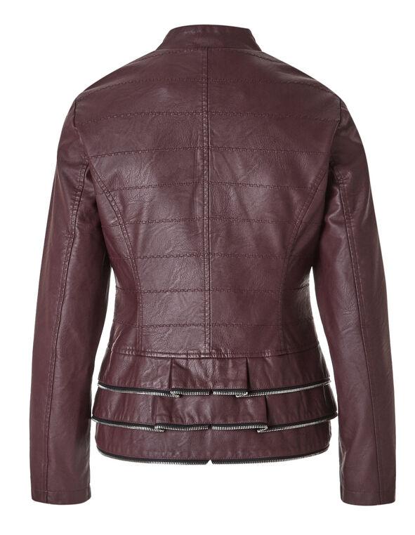Faux Leather Peplum Jacket, Burgundy, hi-res