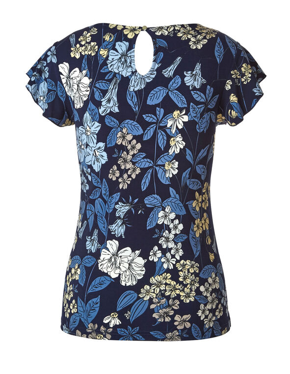 Blue Printed Ruffle Sleeve Top, Blue, hi-res