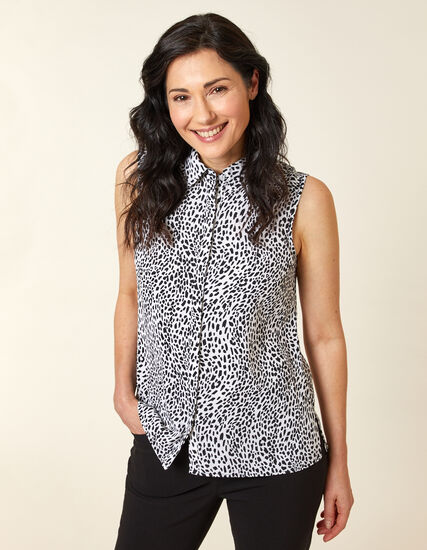 Animal Printed Collared Button Blouse, Black/White, hi-res