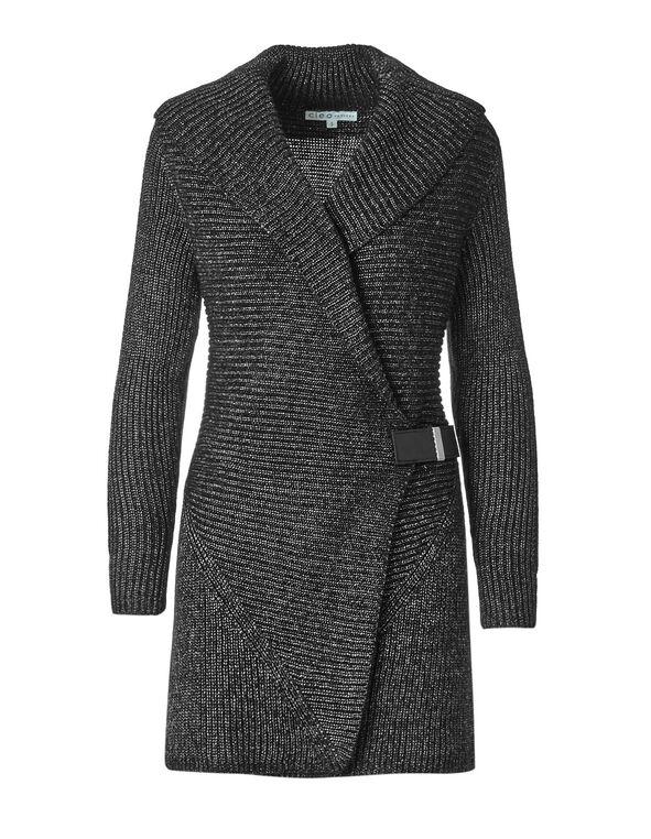 Charcoal Shawl Collar Cardigan, Charcoal Pattern, hi-res