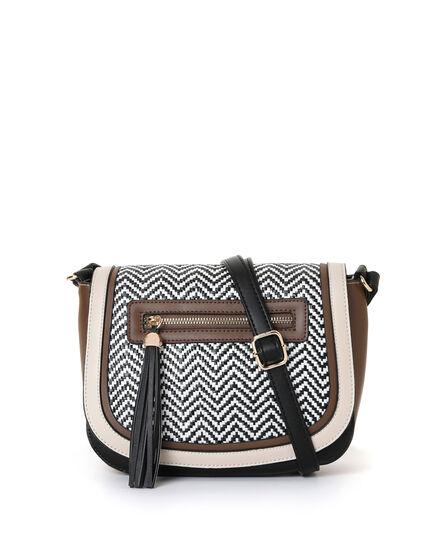 Brown Twill Saddle Handbag, Brown/Black, hi-res