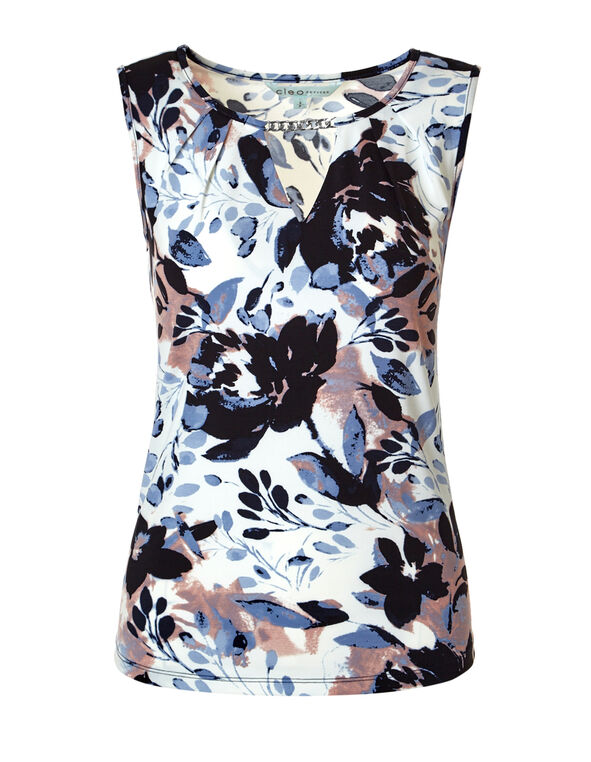 Navy Floral Chain Top, Ivory/Navy/Washed Blue/Peony, hi-res
