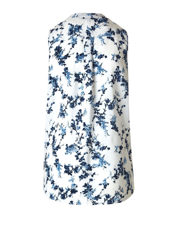 White Floral Peasant Blouse, Navy/White, hi-res