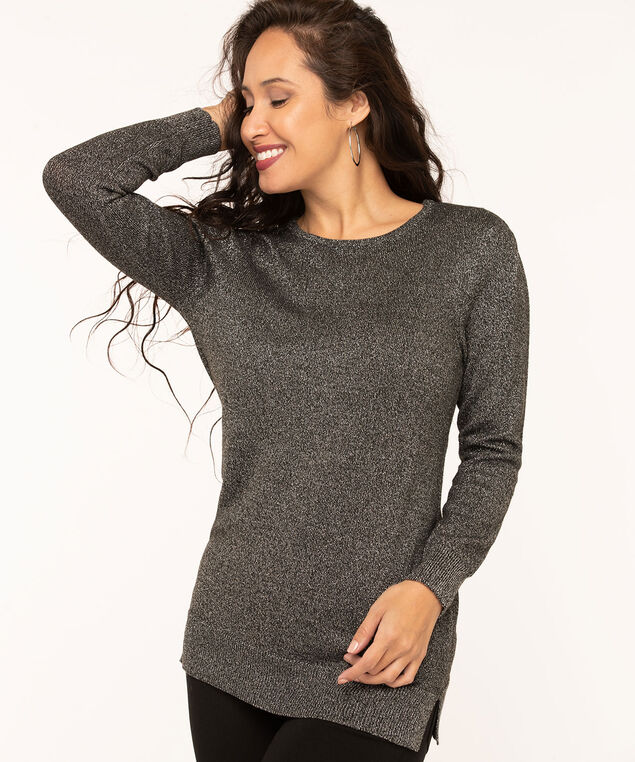 Charcoal Metallic Puff Sleeve Sweater, Charcoal Metallic