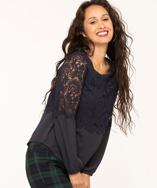 Lace Overlay Popover Blouse, Navy