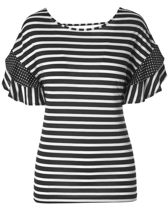 Polka Dotted Striped Flutter Top, White/Black, hi-res