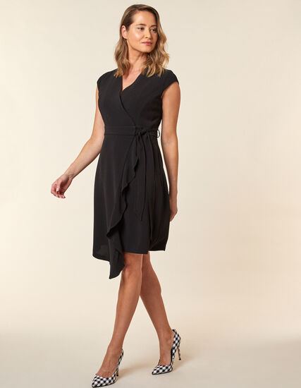 Black Crepe Wrap Dress, Black, hi-res