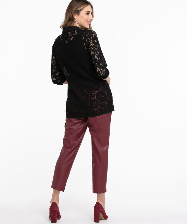 Collared Lace Tunic Blouse, Black