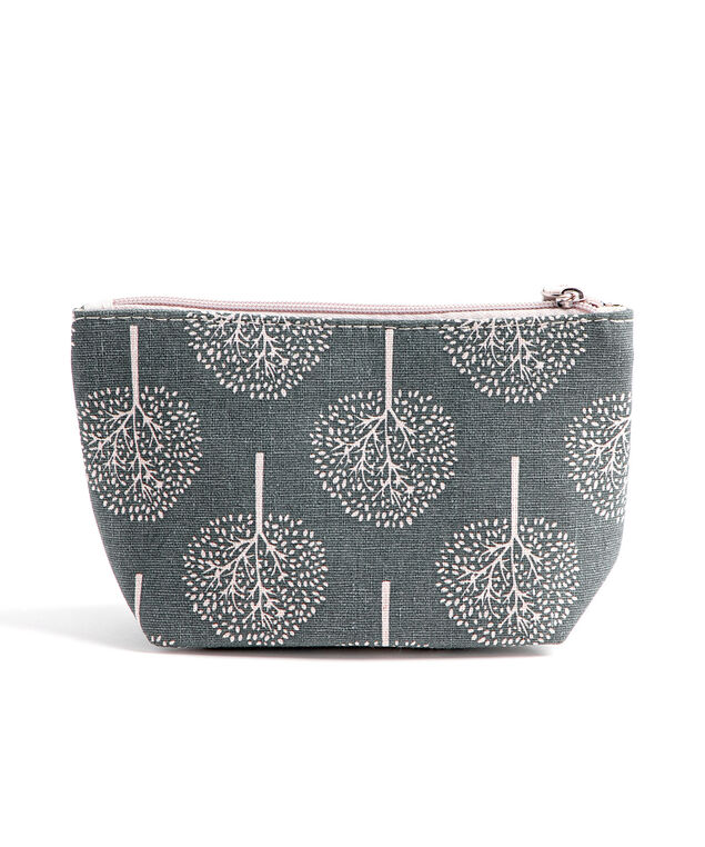 Printed Cotton Canvas Pouch, Grey Trees