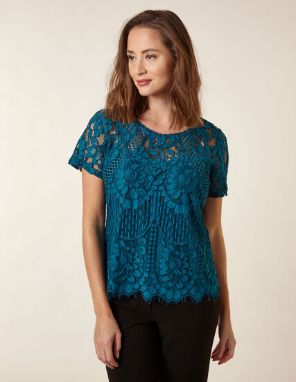 Teal Lace Overlay Top, Teal, hi-res
