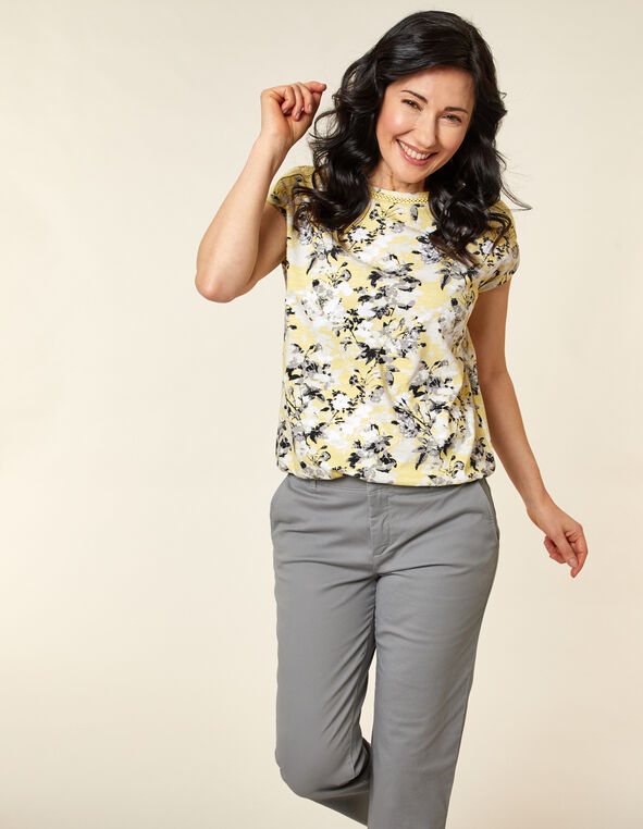 Citrus Floral Bubble Hem Tee, Yellow/Citrus, hi-res