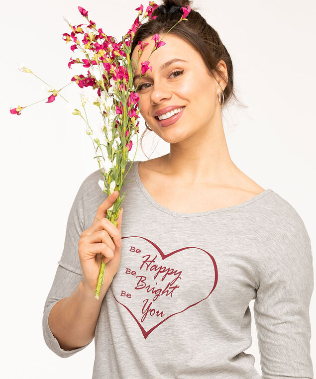 Twisted Keyhole Back Raglan Tee, Light Grey/Wine Heart