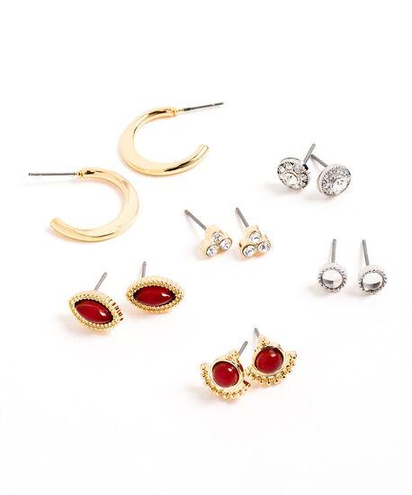Stud & Hoop Earring 6-Pack, Gold/Silver/Red, hi-res