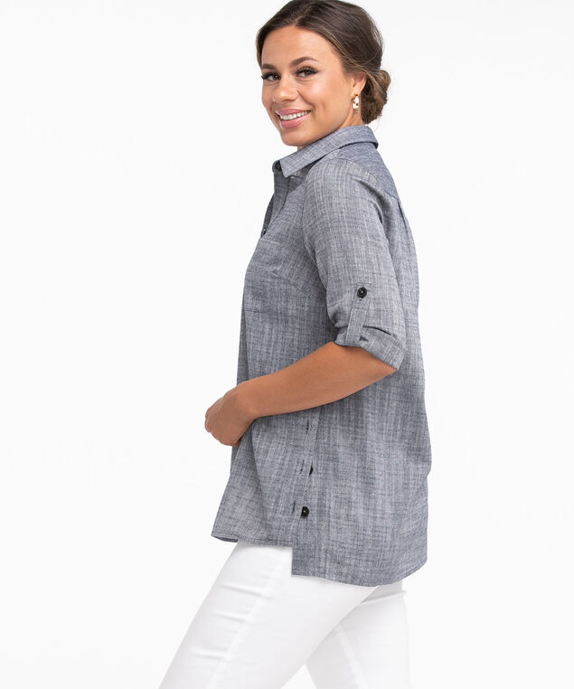 Collared Button Detail Tunic Blouse, Navy Mix