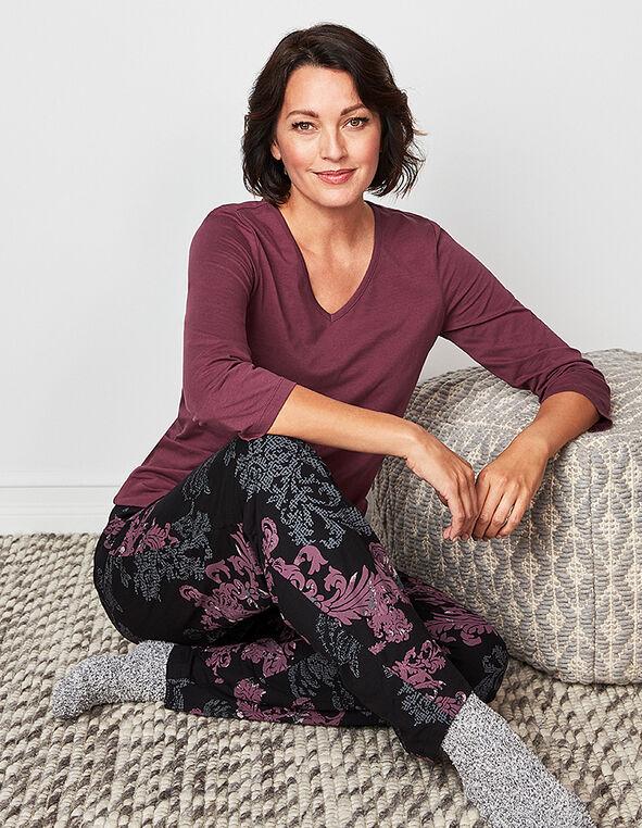 Plum Paisley Cotton Pyjama Set, Purple, hi-res