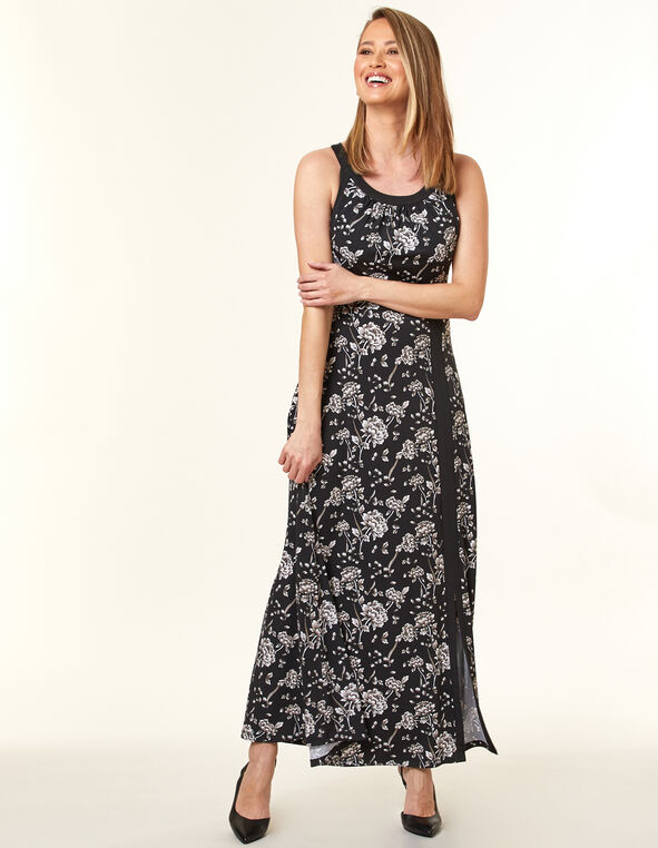 Black Floral Maxi Dress, Black, hi-res
