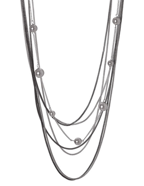 Tri Metal Snake Chain Necklace, Silver, hi-res