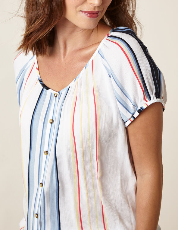 White Striped Crepe Blouse, White/Blue, hi-res