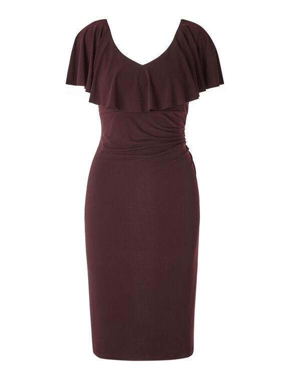 Burgundy Ruffle Dress, Burgundy, hi-res