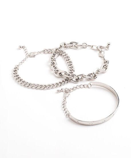Rhodium Bangle Bracelet 3-Pack, Rhodium, hi-res