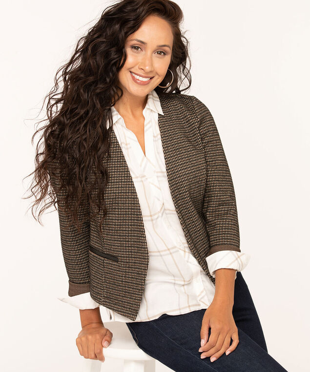 Plaid Jacquard Open Blazer, Camel/Black, hi-res