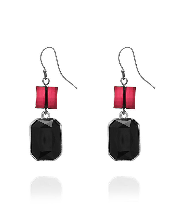 Black Crystal Earring, Black, hi-res