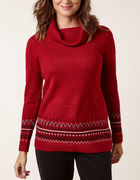 Ruby Fairisle Pullover Sweater, Red, hi-res