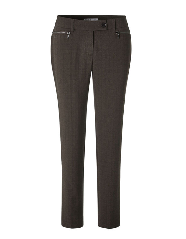 Brown Favourite Slim Leg Pant, Brown, hi-res