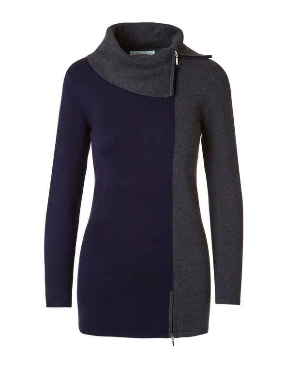 Navy Colour Block Zip Tunic Sweater, Navy/Grey, hi-res