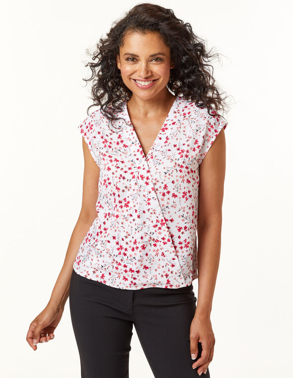 Pink Floral wrap Blouse, Pink/White, hi-res