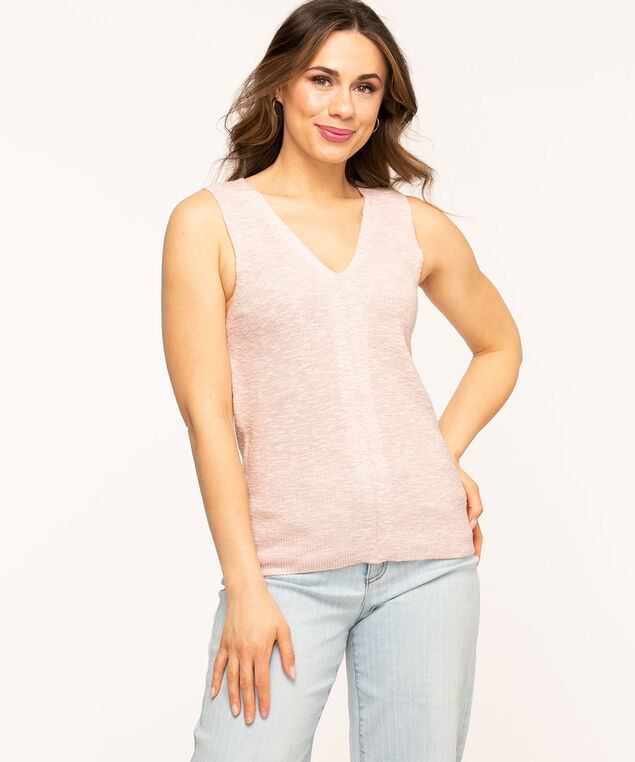 Sleeveless V-Neck Sweater, Petal